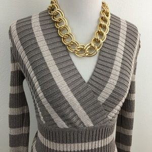 🆕 INC | Color-Block Surplice Knit Sweater Top